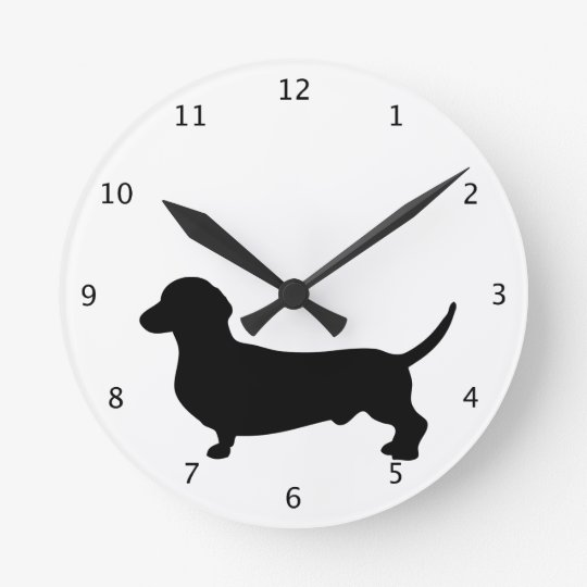 Dachshund dog cute black silhouette doxie round clock