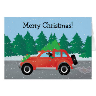 Dachshund Dog Driving Car - Christmas Tree on Top Card