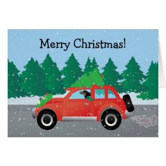 Dachshund Dog Driving Car - Christmas Tree on Top Greeting Card