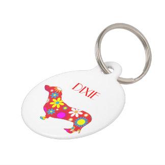 Dachshund dog floral custom dog name, phone number pet name tag