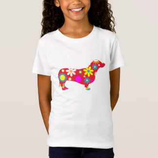 Dachshund dog funky floral colorful girls t-shirt