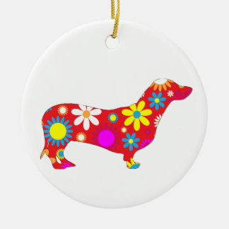 Dachshund dog funky retro floral flowers colorful christmas ornament