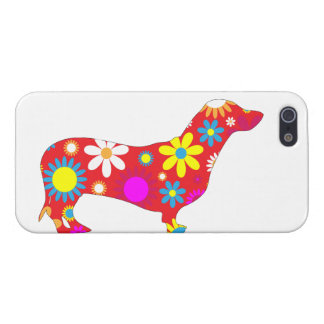 Dachshund dog funky retro floral flowers colorful iPhone 5/5S covers
