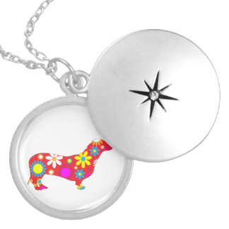 Dachshund dog funky retro floral flowers colorful round locket necklace