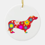 Dachshund dog funky retro floral flowers colourful round ceramic decoration