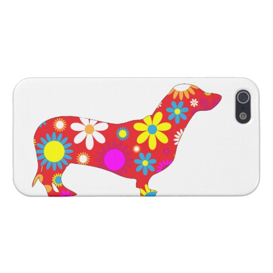Dachshund dog funky retro floral flowers colourful iPhone 5/5S covers