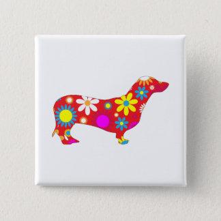 Dachshund dog funky retro floral flowers cute, pin