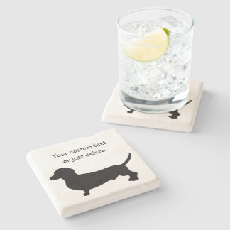 Dachshund dog silhouette cute doxie custom stone coaster
