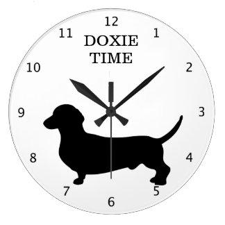 Dachshund dog silhouette doxie time custom large clock