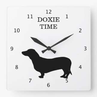 Dachshund dog silhouette doxie time custom square wall clock