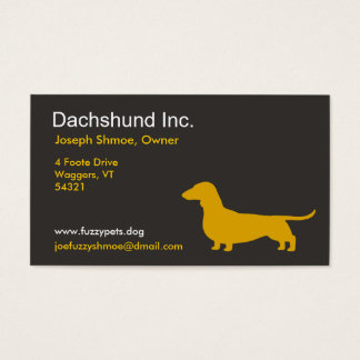 Dachshund Dog Silhouette in Yellow Business Card
