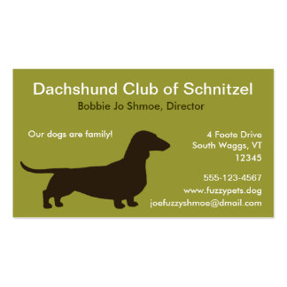 Dachshund Dog Silhouette Pack Of Standard Business Cards