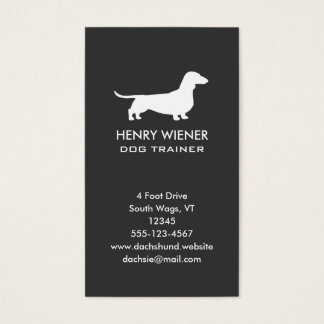 Dachshund Dog Silhouette Vertical Business Card