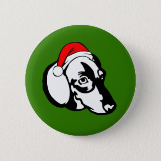 Dachshund Dog with Christmas Santa Hat 6 Cm Round Badge