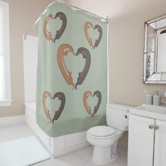 Dachshund dogs heart love shower curtain