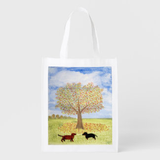 Dachshund Dogs under Autumn Tree Reusable Grocery Bag