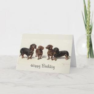 Dachshund Dogs Vintage Art Custom Birthday Card