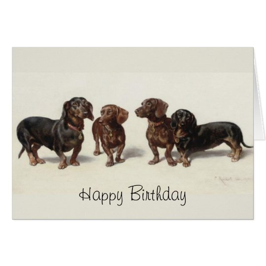 Dachshund dogs vintage art custom birthday card