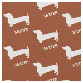 Dachshund Dogs with Name Fabric