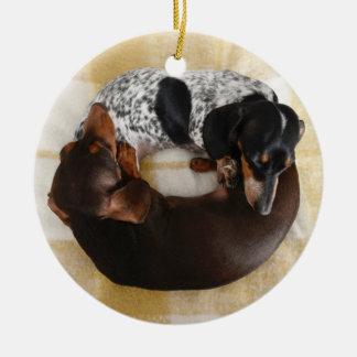 Dachshund Donut Round Ceramic Decoration