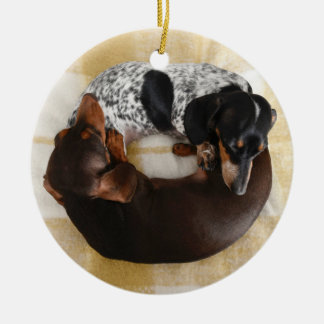 Dachshund Doughnut Round Ceramic Decoration