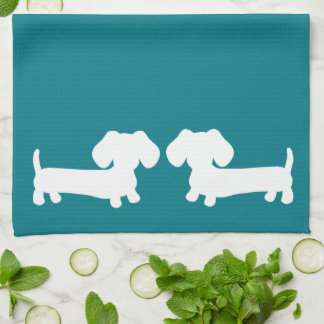 Dachshund Doxie Blue Kitchen Towels