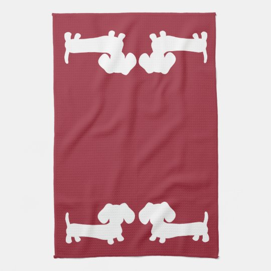 Dachshund Doxie Kitchen Red Towels