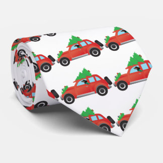 Dachshund driving a car w/ a Christmas tree on top Tie