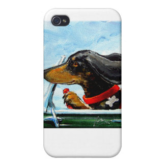 Dachshund Driving To A Beach Party Covers For iPhone 4