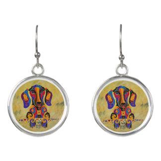 Dachshund Earrings, Happy, Funny, Weiner Dog Earrings