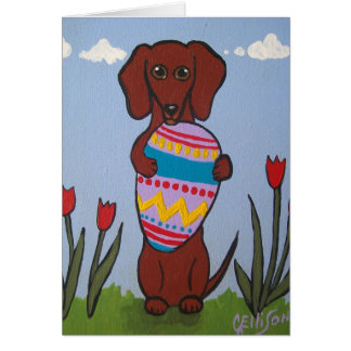 Dachshund Easter Greeting Card