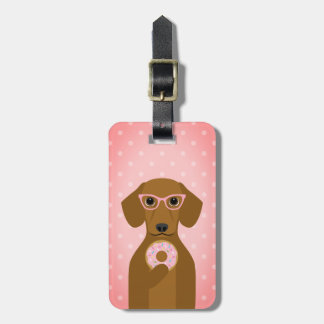 Dachshund Eating Pink Donut with Sprinkles Bag Tag