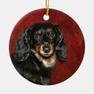 Dachshund face christmas ornament