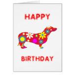 Dachshund funky floral dog happy birthday card