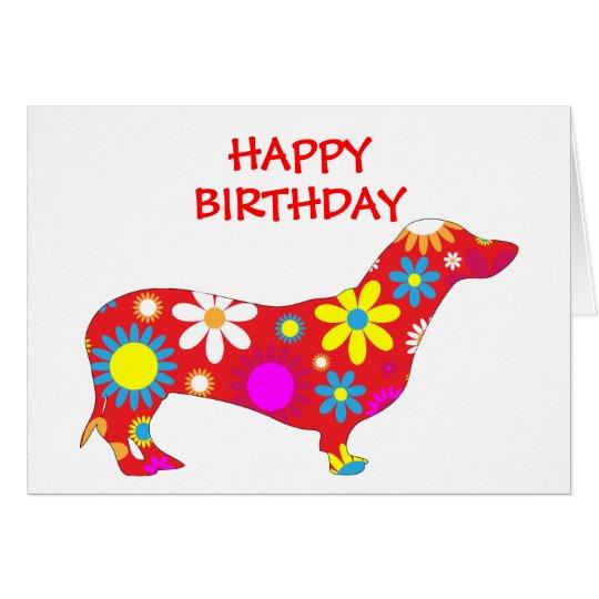 Dachshund funky floral flowers dog birthday card