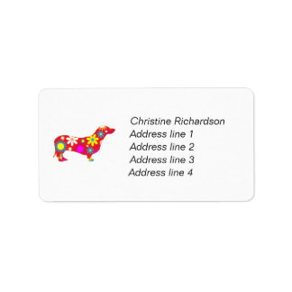 Dachshund funky retro floral flowers cute custom address label