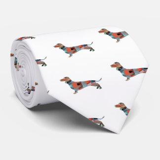 Dachshund Geometric Pattern Silhouette Tie