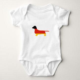 dachshund germany-flag silhouette baby bodysuit