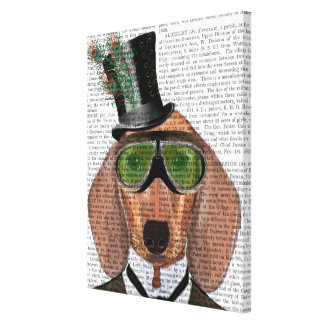 Dachshund Green Goggles Top Hat Canvas Print