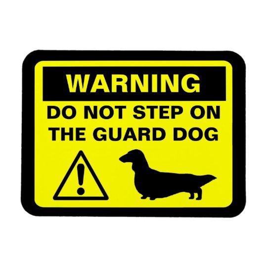 Dachshund Guard Dog Warning (Long Haired Doxie) Rectangular Photo Magnet