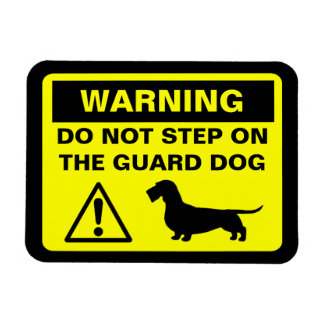 Dachshund Guard Dog Warning (Wire Haired Doxie) Rectangular Photo Magnet
