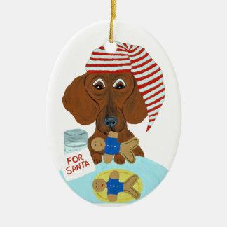 Dachshund Guarding Santa's Cookies Christmas Ornament