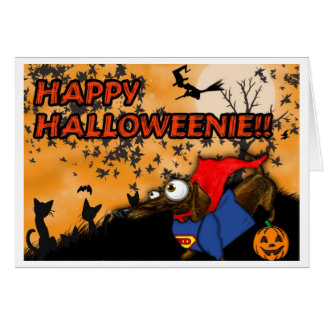 Dachshund Halloween Card Batdog and Superdog