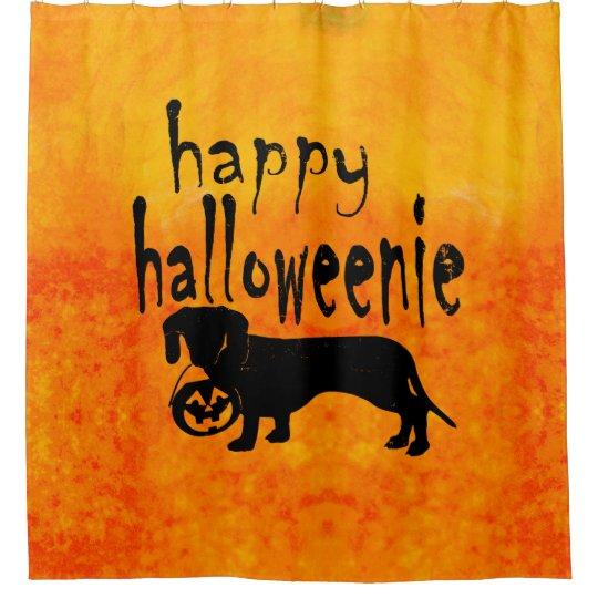 Dachshund Halloween Orange and Black Shower Curtain