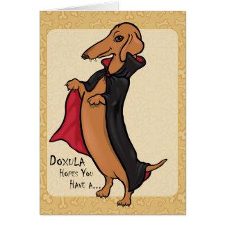 Dachshund Halloween Vampire Greeting Card