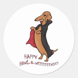 Dachshund Halloween Vampire Round Sticker