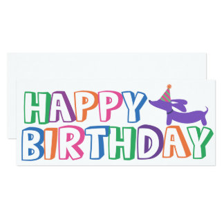 Dachshund Happy Birthday Card Long