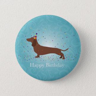 Dachshund - Happy Birthday Design 6 Cm Round Badge