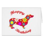 Dachshund happy birthday dog greeting card