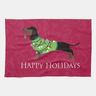 Dachshund Happy Holidays Design Tea Towel